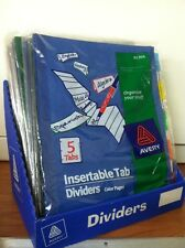 Avery Instertable Tab Dividers 81304 Assorted Colors Two Packets of 5 Tabs
