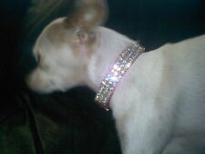 "Small Pink Collar & Clear Crystal Rhinestone Dog Collar  Fits 8-10"" Neck Sizes"