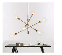 Modern Polished Gold Sputnik Chandelier 6Light Mid Century Ceiling Light Fixture