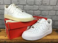 NIKE MENS UK 6 EU 40 WHITE AIR FORCE 1 LOW LEATHER BASKETBALL TRAINERS