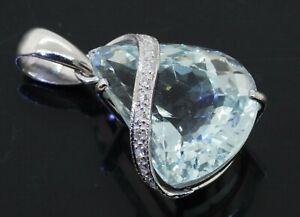 GemLab certified 18K WG 17.23CT diamond/19 X 15.7mm Fancy cut aquamarine pendant