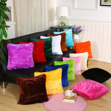 US Plush Shaggy Throw Pillow Cover Cushion Case Solid Color Home Sofa Decors