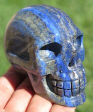 10.7OZ Fantastic Natural Lapis Lazuli Crystal Carving Art Skull Gift