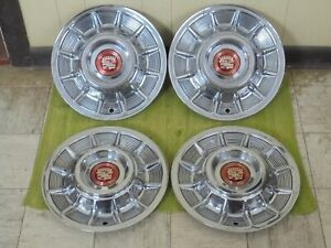 "1957 Cadillac Hub Caps 15"" Set of 4 Caddy Wheel Covers Hubcaps 57"