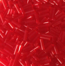50g glass bugle beads - Red Transparent - approx 6mm tubes, jewellery making