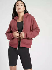 NWT! Athleta Cozy Sherpa Reversible Zip Front Hoodie Jacket Maple Red Sz XL $138
