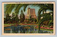 Los Angeles CA, Elks Club, General MacArthur Park, Linen California Postcard