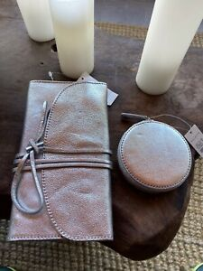 NWT Talbots Silver COMPACT ONLY Dual-Sided Mirror - Matches Jewelry Pouch