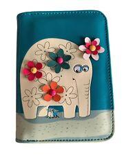 Elephant Purse Ladies Cute Blue Green Floral Applique Faux Leather Money Wallet