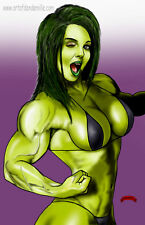 She-Hulk wink sexy Marvel comics art muscle fit 11x17 signed print Dan DeMille