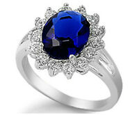 Sterling Silver 925 BLUE SAPHIRE CZ OVAL DESIGN ENGAGEMENT RING 17MM SIZES 5-10