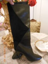 Italian black Boots by Biondini leather patent leather and suede size 8M