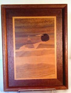 MCM Robert Kitchens Signed Marquetry Picture Sailboat Moon Seagull Mixed Woods