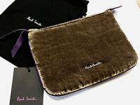 Paul Smith COIN POUCH BEAUTIFUL PURPLE LEATHER & TAUPE VELVET COIN POUCH / PURSE