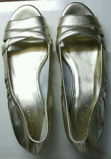 """COLE HAAN WOMENS """"TALI"""" NIKE AIR LEATHER WEDGE-GOLD,Size 8"""