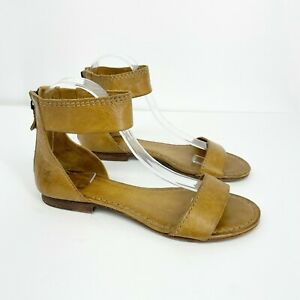 Frye Carson Ankle Zip Strap Leather Sandals Size 7 Camel Brown Back zip Ankle