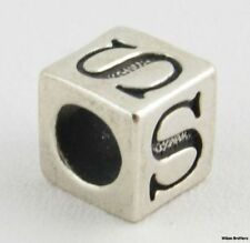 Letter S Block Bead Charm - Sterling Silver 925 Initial Findings Jewelry Making