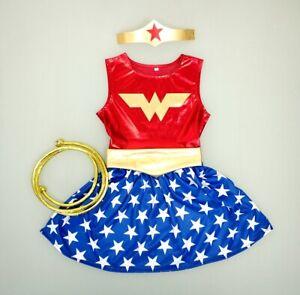Wonder Woman Children Kids Girls Cosplay Costume Dress Set Halloween