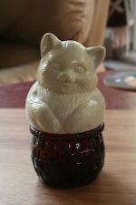 Vntg Cat on Glass Jar Amber Avon Field Flowers Sachet Empty 1970's