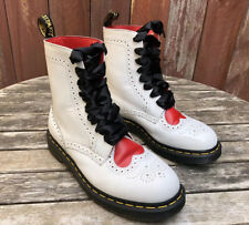 Dr. Martens Bentley II White Heart Red AirWair Boots Women's Size 9