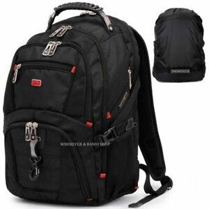 """Men Travel 17"""" Laptop Backpack Shoulder Bag Swiss Hiking School Bag Rucksack"""