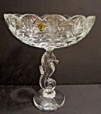 """Waterford Crystal Seahorse 12.25"""" Sculpted Pedestal Bowl STUNNING NEW IN BOX"""