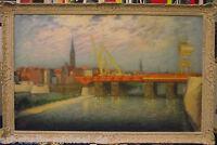 Norddeutsche Künstler Gustav Rau Bau der neuen Weserbrücke 1938 Öl signiert