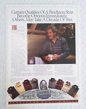 1986 Pendleton Woolen Mills Men's Shirt Line Certain Qualities Photo print ad