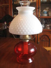 "Vintage  red  & white oil lamp W/burner & chimney & white top 15"" in tall"