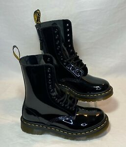 Dr Martens 1490 Women's Size 6 Black Patent Leather 10-Eye Zip Combat Boots New