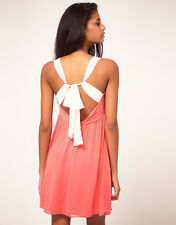 ASOS Coral Summer Mini Dress With Cream Tie Back Size 12 Absolutely Gorgeous NEW
