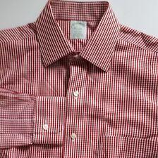 Brooks Brothers Milano Mens Non Iron Long Sleeve Dress Shirt 15 35 Red Checks
