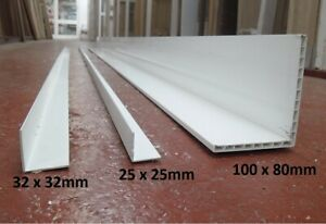 UPVC Plastic Angles Trim Corner 25mm, 32mm and 100x80mm 2x 1170mm Finishing Bead