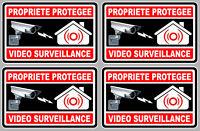 4 X VIDEO SURVEILLANCE PROPRIETE ALARME CAMERA 10cm AUTOCOLLANT STICKER (VA050)