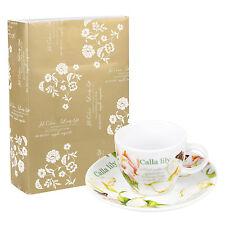 12pc Calla Lily Espresso Cup & Saucer Coffee Set Porcelain Ceramic Gift Box New