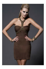 "BEAUTIFUL NWT $200 KIMIKAL BROWN SILK BEADED ""KATE"" PARTY DRESS MED"