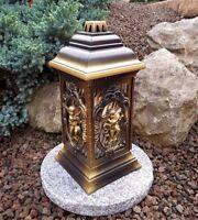 Grablaterne mit Sockel Grablampe Grableuchte Licht Grablicht Kerze Engel Bronze