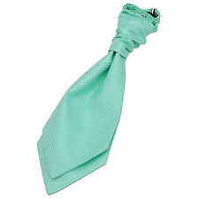 DQT Woven Greek Key Mint Green Wedding Pre-Tied Boys Cravat Free Cravat Pin