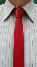Handmade VIKTOR SABO  RED  Leather Tie 1.5 inch / 3.8 cm - Make Ur Style