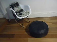 Beautiful New Leather Ottoman for use as Coffee Table or Pouf or Pouffe - Black