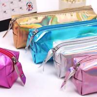 Laser Purse Pencil Case Cosmetics Makeup Bag Holographic Macrame Travel PU w/