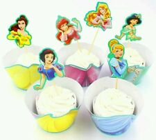 24 Pcs Disney Princess Party Cupcake Wrappers And Toppers