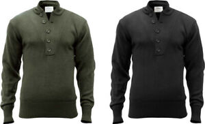 Tactical Acrylic Solid 5 Button Fitted Army Sweater