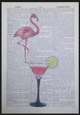 Vintage Pink Flamingo Cocktail Glass Print 1933 Dictionary Page Wall Art Picture