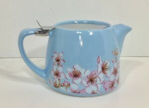 NEW ALFRED CERAMIC & STAINLESS STEEL 20 OZ BLUE w/PINK FLORAL TEAPOT