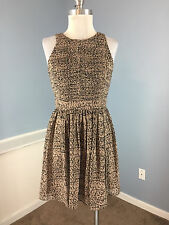 BCBGENERATION BCBG S 4 Taupe Black Print Fit Flare Dress Career Cocktail EUC B25