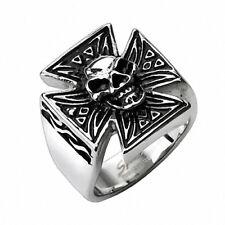 Biker Ring Totenkopf auf Eisernes Kreuz Rocker Siegelring aus Edelstahl Gothik