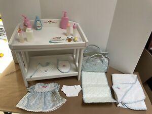 Lot American Girl Bitty Baby Changing Table-Retired,diaper Bag,Dress, Towel, Bib
