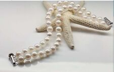 Double strands 9-10mm south sea white round pearl bracelet 7.5-8inch 925s Y3390