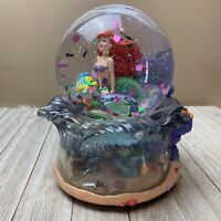 "Disney Little Mermaid Ariel Flounder Snow Globe Plays ""Under the Sea"" *READ*"